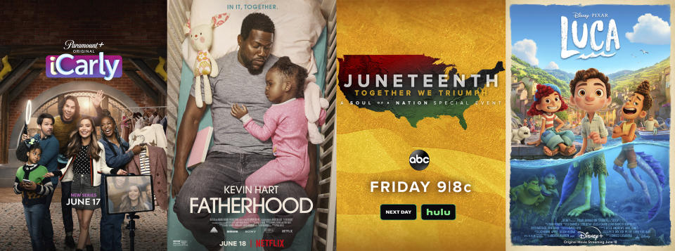 """This combination of photos shows promotional art for, from left, a reboot of the series """"iCarly,"""" premiering June 17 on Paramount+, """"Fatherhood"""" a film premiering Friday on Netflix, """"Juneteenth: Together We Triumph"""" TV special airing Friday on ABC, and """"Luca,"""" an animated feature premiering Friday on Disney+. (Paramount+/Netflix/ABC/Disney+ via AP)"""