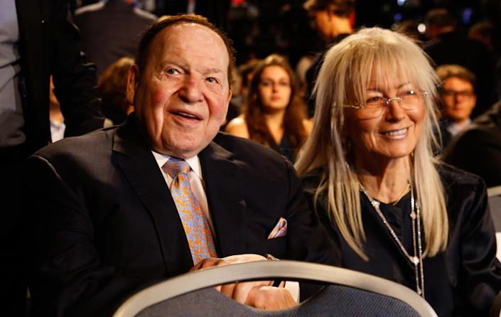 Sheldon and Miriam Adelson await the start of the presidential debate between  Hillary Clinton and   Donald Trump at Hofstra University in New York on Sept. 26, 2016.