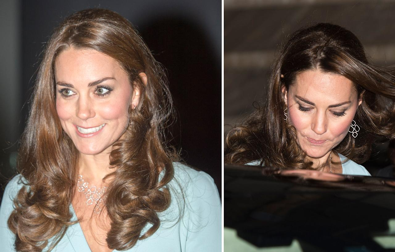 <p>Kate jazzed up her pale blue gown in 2014 with a matching diamond set by jeweller Monica Vinader. The necklace cost £1,950 while the chandelier earrings are worth £745.<br /><i>[Photo: PA]</i> </p>