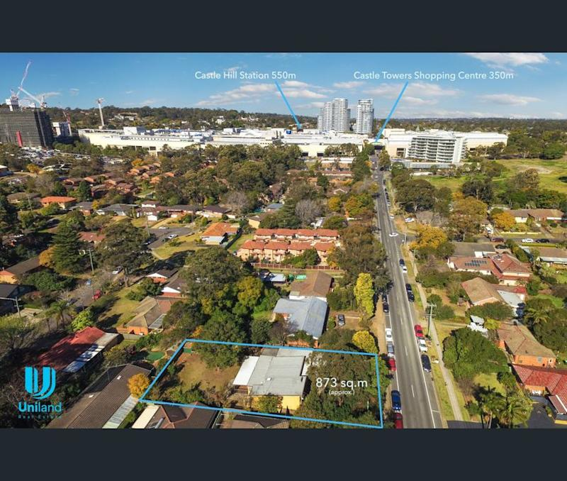 Aerial imagery showing the property for sale at Castle Hill in western Sydney in relation to the shopping centre and the railway station.