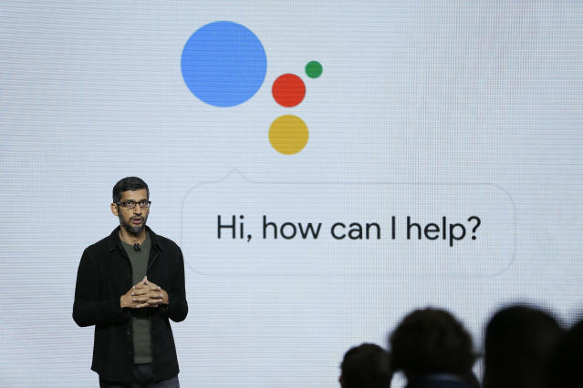 Google CEO Sundar Pichai unveils updates to Google Assistant. (AP Photo/Eric Risberg, File)