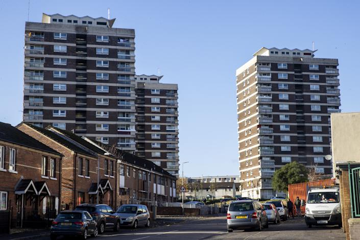 Tower block flats in New Lodge, Belfast. (Photo by Liam McBurney/PA Images via Getty Images)