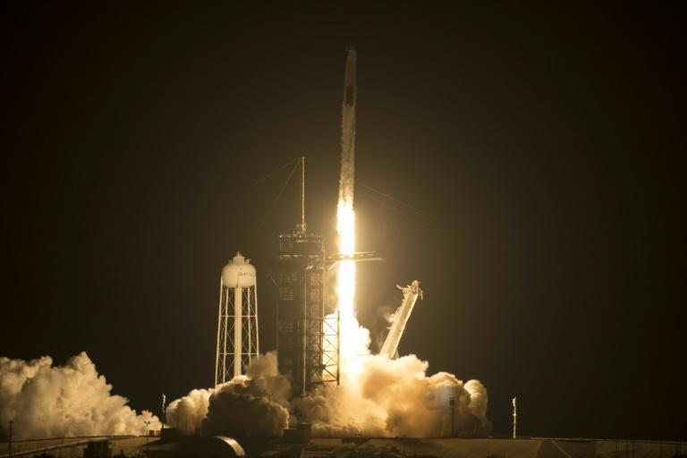 A SpaceX Falcon 9 rocket carrying the Crew-2 mission astronauts lifts off from launch complex 39A at the Kennedy Space Center in Florida on April 23, 2021