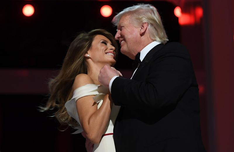 US President Donald Trump and First Lady Melania Trump dance at the Liberty Ball at the Washington DC Convention Center (AFP Photo/JIM WATSON )