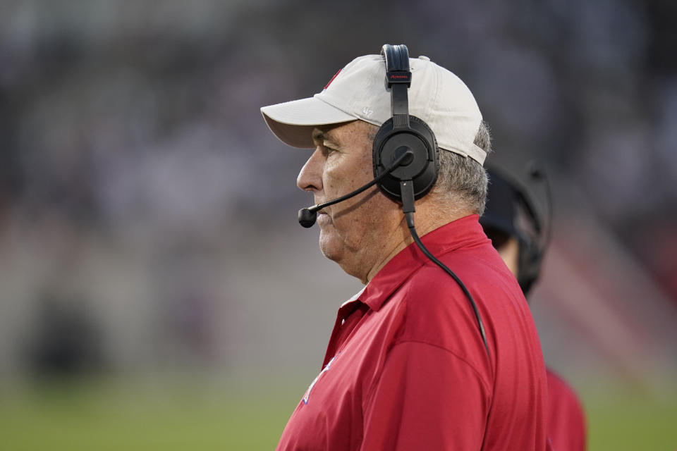 June Jones, who coached the XFL's Houston Roughnecks, has been running the run-n-shoot offense for decades. (AP Photo/Matt Patterson)