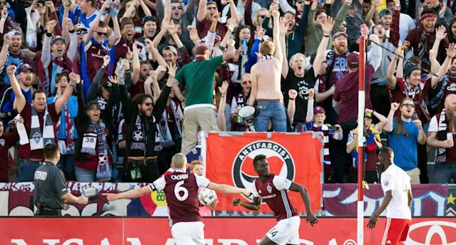 An anti-facist flag was displayed by Rapids supporters during Colorado's MLS season opener. (@MetroAntifa)