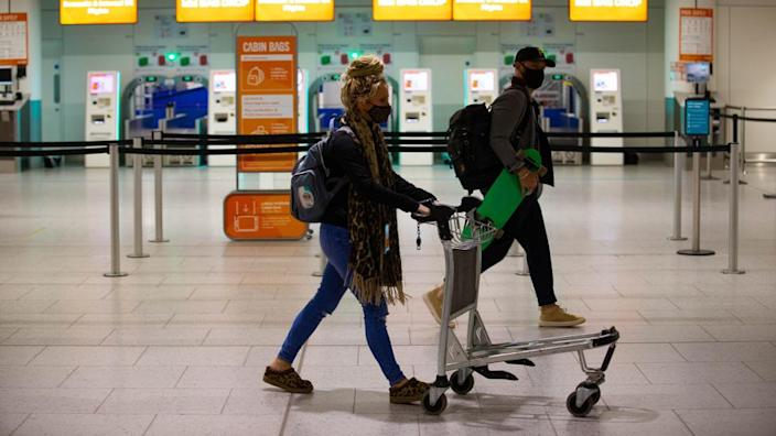 Passengers checking in at Gatwick