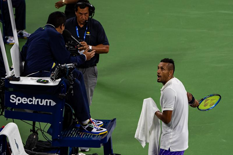 Nick Kyrgios, upset with the umpire once again. (Getty)