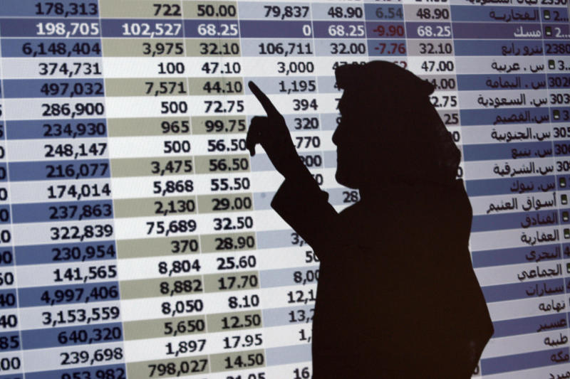 "FILE - In this Oct. 7, 2008 file photo, the shadow of a Saudi trader is seen on a stock market monitor in Riyadh, Saudi Arabia. The Saudi stock market sharply fell Sunday after President Donald Trump threatened ""severe punishment"" over the disappearance of Washington Post contributor Jamal Khashoggi. (AP Photo/Hassan Ammar, File)"