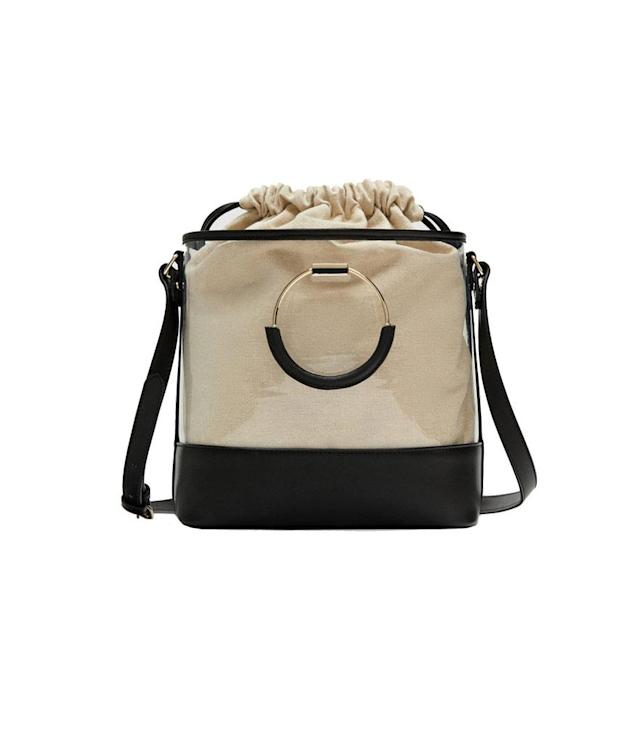 "<p><span>Vinyl Tote With Interior Bag, $46,</span><a href=""https://www.zara.com/us/en/vinyl-tote-with-interior-bag-p12360304.html?v1=5744086&v2=819022"" rel=""nofollow noopener"" target=""_blank"" data-ylk=""slk:zara.com"" class=""link rapid-noclick-resp""> <span>zara.com</span></a> </p>"