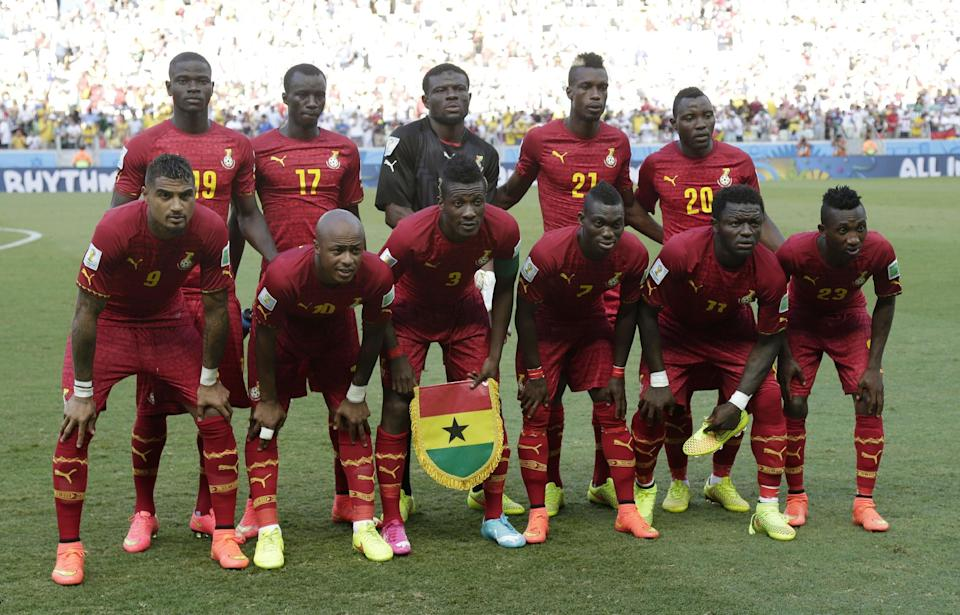 The Ghana national team pose for a photo before the group G World Cup soccer match between Germany and Ghana at the Arena Castelao in Fortaleza, Brazil, Saturday, June 21, 2014. (AP Photo/Marcio Jose Sanchez)