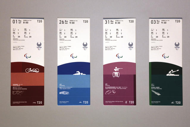 Tickets for the Tokyo 2020 Paralympics are on display Wednesday, Jan. 15, 2020, in Tokyo. (AP Photo/Jae C. Hong)