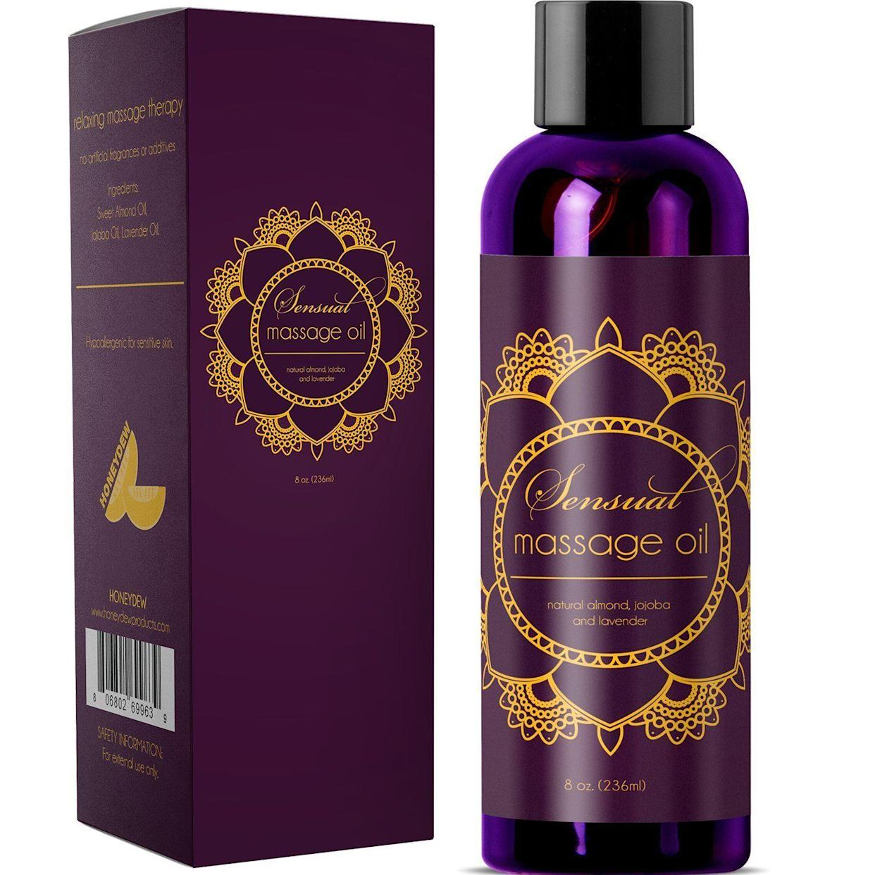 "<p><strong>The Gift: Sensual Massage Oil</strong><br>Use this best-selling Amazon's Choice massage oil made from a luxe blend of Bulgarian lavender oil, Jojoba, and almond extract for sensual or practical occasions — the glowing reviews range from, ""This is my all time favorite sensual massage oil! I love the way it feels - smooth, just the right amount of slippery, soaks in slow and makes my skin feel great,"" to, ""Used this with my girlfriend and we both love it! It was calming, relaxing, and smelled great.""</p> <br> <br> <strong>Maple Holistics</strong> Honeydew Sensual Massage Oil with Pure Lavender Oil, $11.35, available at <a href=""https://www.amazon.com/Sensual-Massage-Pure-Lavender-Hypoallergenic/dp/B019FW8PA0/ref=sr_1_2_a_it?ie=UTF8&qid=1548274330&sr=8-2-spons&keywords=sensual+massage+oil&psc=1"" rel=""nofollow noopener"" target=""_blank"" data-ylk=""slk:Amazon"" class=""link rapid-noclick-resp"">Amazon</a>"