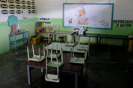 Empty desks are seen in a classroom on the first day of school, in Caucagua, Venezuela September 17, 2018. REUTERS/Marco Bello