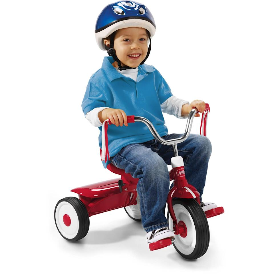 """<p>This <a href=""""https://www.popsugar.com/buy/Radio-Flyer-Ready-Ride-Folding-Trike-574716?p_name=Radio%20Flyer%20Ready%20to%20Ride%20Folding%20Trike&retailer=walmart.com&pid=574716&price=40&evar1=moms%3Aus&evar9=47481605&evar98=https%3A%2F%2Fwww.popsugar.com%2Fphoto-gallery%2F47481605%2Fimage%2F47481621%2FRadio-Flyer-Ready-to-Ride-Folding-Trike&list1=bikes%2Ckid%20shopping&prop13=api&pdata=1"""" class=""""link rapid-noclick-resp"""" rel=""""nofollow noopener"""" target=""""_blank"""" data-ylk=""""slk:Radio Flyer Ready to Ride Folding Trike"""">Radio Flyer Ready to Ride Folding Trike</a> ($40) is perfect for toddlers just learning how to pedal.</p>"""