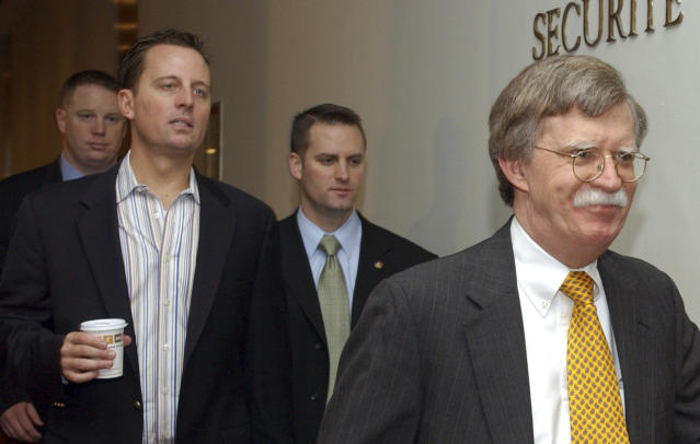 John Bolton, then the United States ambassador to the United Nations, right, and Richard Grenell, left, in 2006. (Osamu Honda/AP)