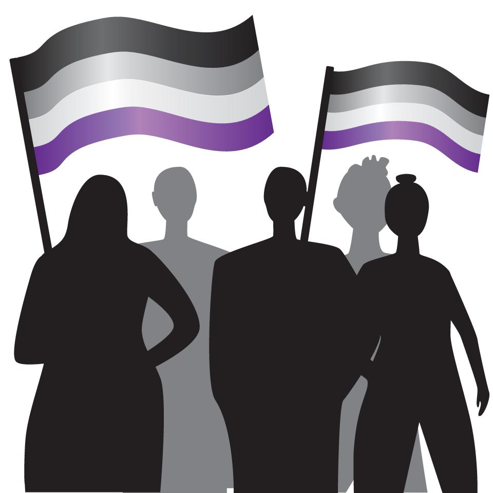 Silhouettes of people with LGBTQ flags as a concept of pride revolution, struggle for equality, homosexual society. Silhouette vector stock illustration with people or asexual