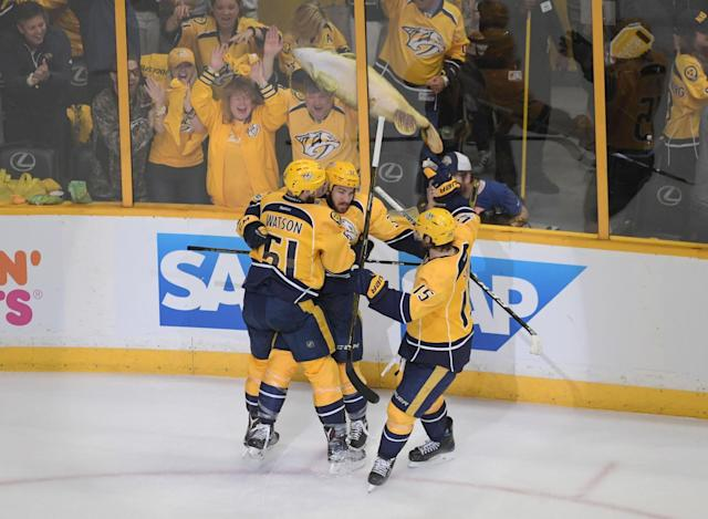 <p>The Predators scored twice in 42 seconds in the second period, including this goal by Frederick Gaudreau, and never looked back.<br> (Scott Rovak-USA TODAY Sports) </p>