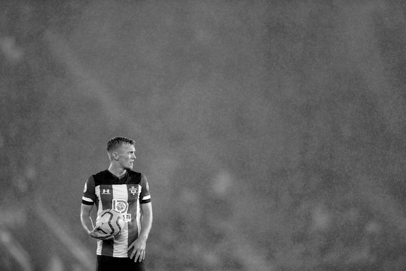 SOUTHAMPTON, ENGLAND - OCTOBER 25: (EDITORS NOTE - This image has been converted to black and white) James Ward-Prowse of Southampton looks on during the Premier League match between Southampton FC and Leicester City at St Mary's Stadium on October 25, 2019 in Southampton, United Kingdom. (Photo by Naomi Baker/Getty Images)