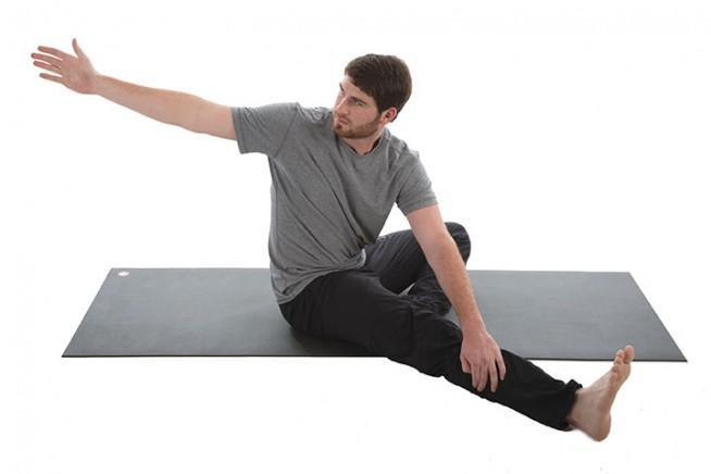 Bent-Knee Straddle Reach and Twist 4