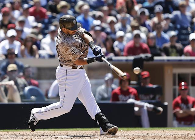 San Diego Padres' Rene Rivera drives a double down the left field line to drive in two runs against the Arizona Diamondbacks during the fourth inning of a baseball game Sunday, May 4, 2014, in San Diego. (AP Photo/Lenny Ignelzi)