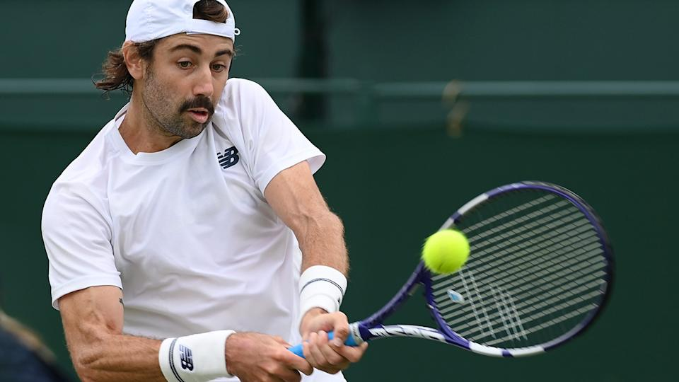 Jordan Thompson is set to face Kei Nishikori in the second round at Wimbledon. (Photo by Mike Hewitt/Getty Images)
