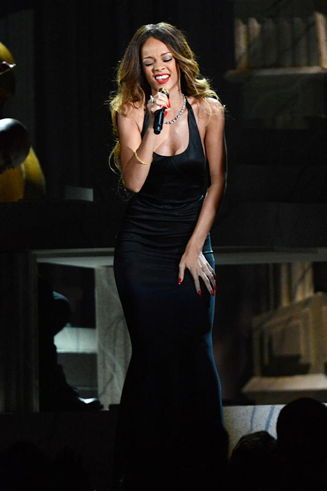 Rihanna performs at the 55th Annual Grammy Awards at the Staples Center in Los Angeles, CA on February 10, 2013.