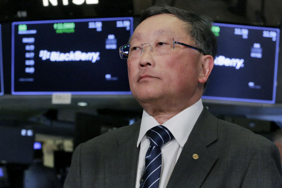 Blackberry Limited Chairman & CEO John Chen is interviewed on the floor of the New York Stock Exchange, Monday, Oct. 16, 2017. (AP Photo/Richard Drew)