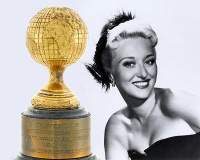 Celeste Holm and her 1948 Golden Globe Award for Best Supporting Actress for Gentleman's Agreement.
