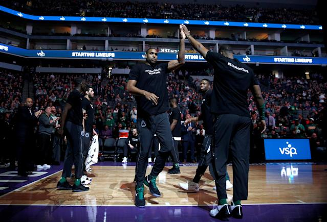 Mar 25, 2018; Sacramento, CA, USA; Boston Celtics forward Al Horford (42) is introduced before the start of the game against the Sacramento Kings at Golden 1 Center. Players from both teams wore t-shirts during warmups in honor of Stephon Clark, a Sacramento native who was recently shot and killed by Sacramento police. Mandatory Credit: Cary Edmondson-USA TODAY Sports TPX IMAGES OF THE DAY