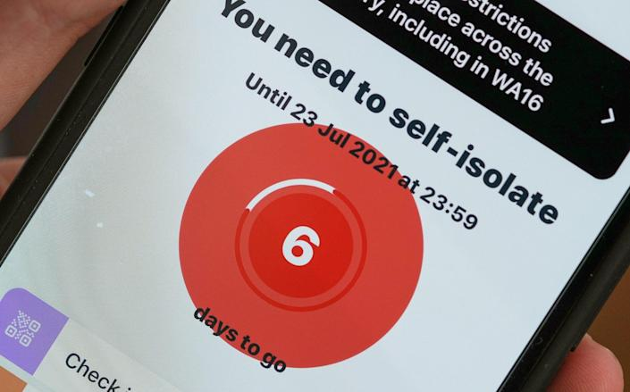 The NHS app has been telling record numbers of people to self-isolate - Christopher Furlong/Getty