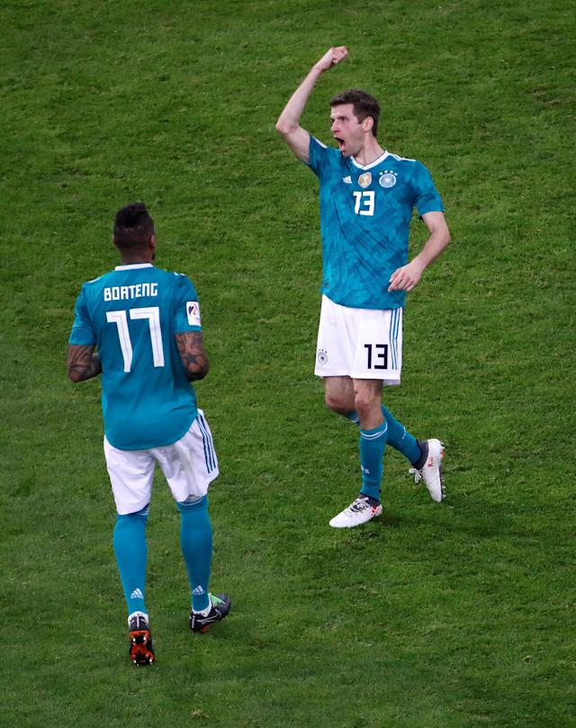 Soccer Football - International Friendly - Germany vs Spain - ESPRIT arena, Dusseldorf, Germany - March 23, 2018 Germany's Thomas Mueller celebrates with Jerome Boateng after scoring their first goal REUTERS/Wolfgang Rattay TPX IMAGES OF THE DAY