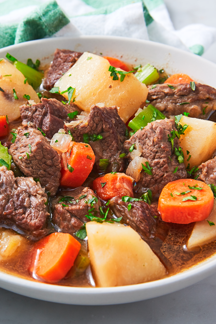 """<p>Traditionally, an Irish stew is made with lamb, which you can totally do. We opted for braising steak for simplicity and familiarity, but we think the Guinness and potatoes still qualify the stew as Irish. Whatever cut of meat you choose, this stew is absolutely delicious.</p><p>Get the <a href=""""https://www.delish.com/uk/cooking/recipes/a30528011/irish-stew-recipe/"""" rel=""""nofollow noopener"""" target=""""_blank"""" data-ylk=""""slk:Irish Beef Stew"""" class=""""link rapid-noclick-resp"""">Irish Beef Stew</a> recipe.</p>"""