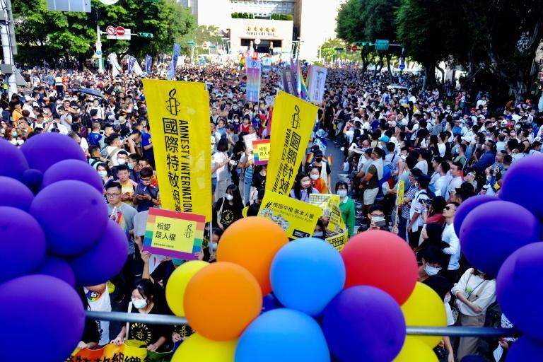 LGBT rights activists march on the streets of Taipei during Taiwan's annual Gay Pride Parade