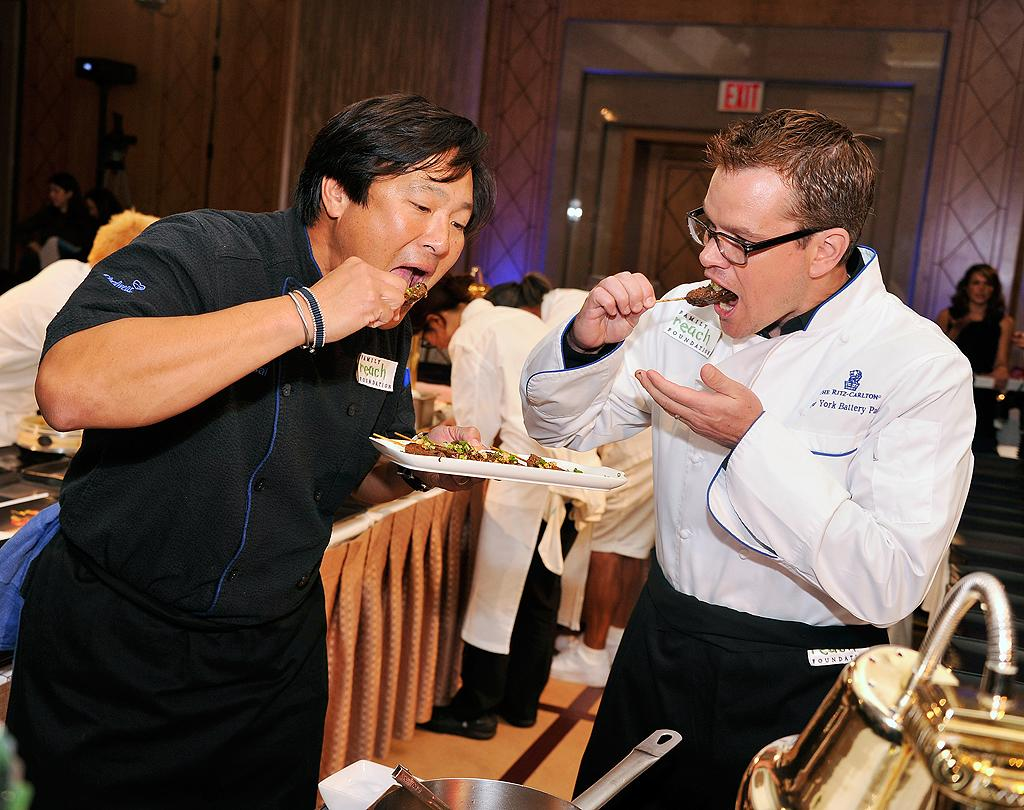 "He may make a decent living as an actor, but Matt Damon always has cooking to fall back on! The ""We Bought a Zoo"" star helped celebrity chef Ming Tsai prepare a few dishes at Family Reach Foundation's Cooking Live! at the Ritz Carlton Battery Park in New York City on Tuesday. The event raised $250,000 for families fighting cancer. (9/18/2012)"