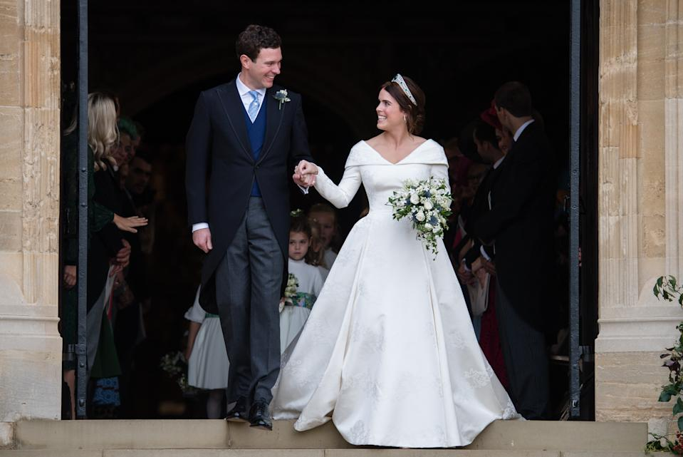 Princess Eugenie or York married Jack Brooksbank in a full-skirted gown by British-born designer Peter Pilotto in October 2018. (Getty Images)