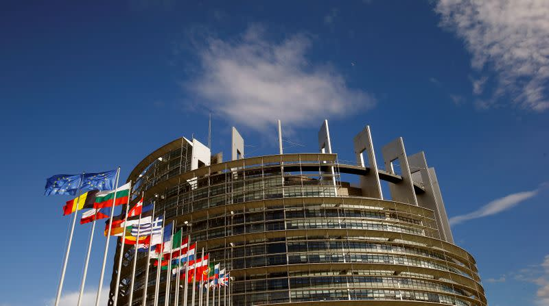 Flags of the European Union and its member states fly in front of the building of the European Parliament in Strasbourg