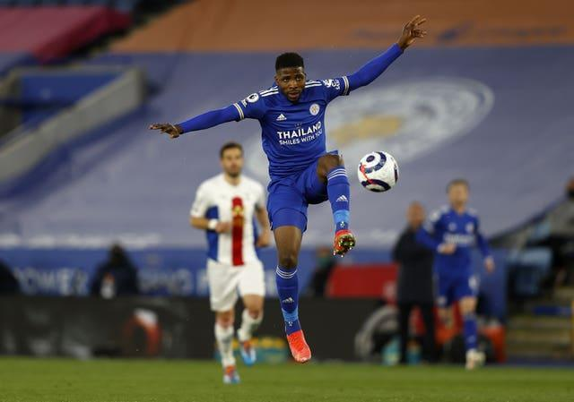 Leicester forward Kelechi Iheanacho controls the ball