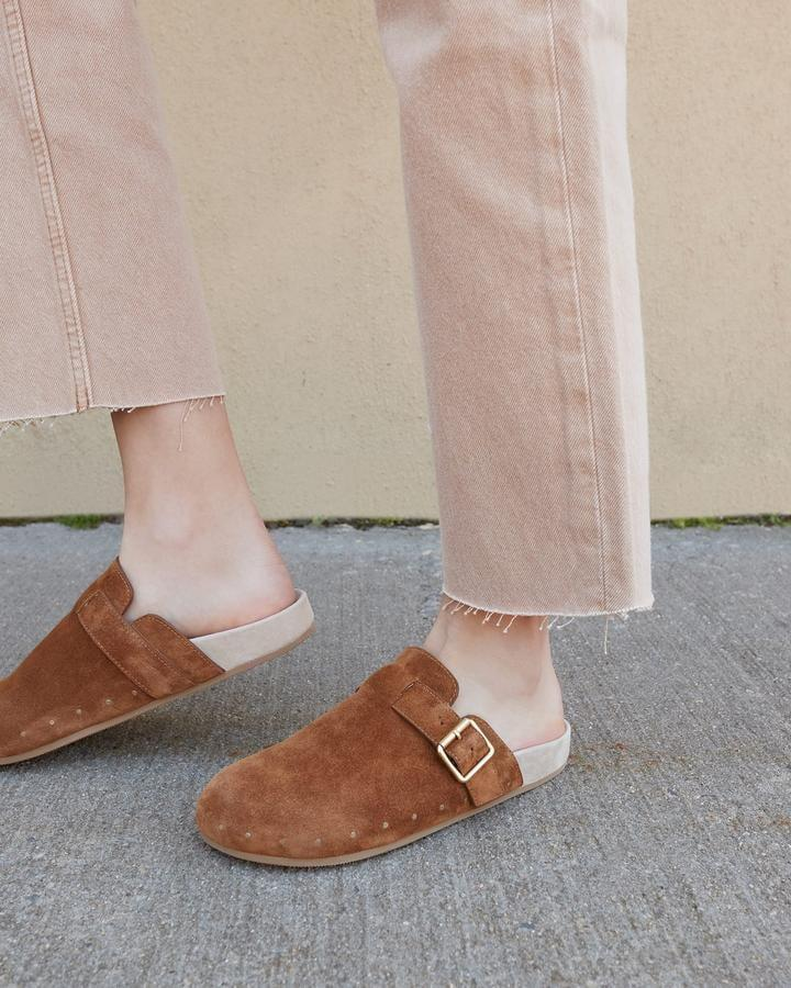 <p>Opt for a suede pair and treat yourself to the <span>Loeffler Randall Jayden Cacao Clog</span> ($295). The buckle detail gives them a little extra something.</p>
