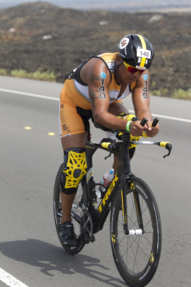 IMAGE DISTRIBUTED FOR GOPRO IRONMAN - Super Bowl Champion and BECOME ONE athlete Hines Ward cycles on the 112 mi. course during the 2013 GoPro IRONMAN World Championship in Kailua-Kona, Hawaii on Saturday, Oct. 12, 2013. (Marco Garcia/AP Images for GoPro Ironman)