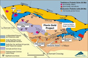 Location of Florin Gold Project area relative to other multi-million-ounce gold projects