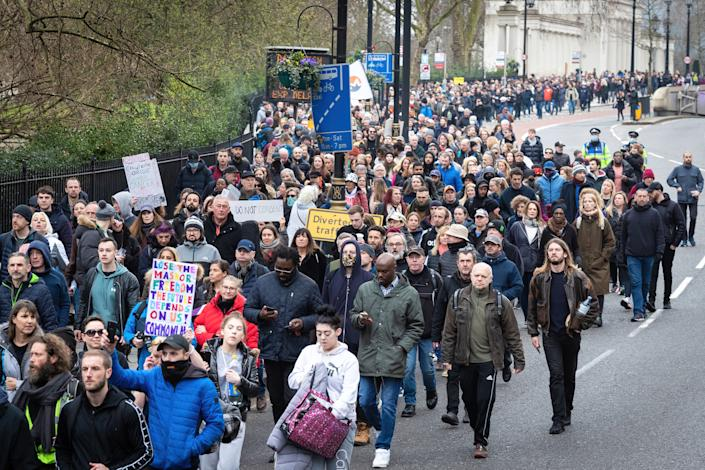 Thousands of protesters take part in an anti-lockdown march. A World-Wide Rally for Freedom was organised a year after lockdowns were introduced to try and stop the spread of COVID-19. (Photo by Andy Barton/SOPA Images/LightRocket via Getty Images)
