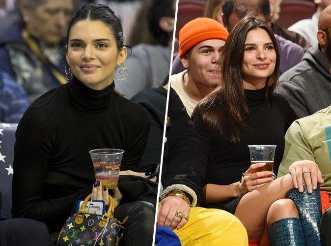 kendall jenner et emily ratajkowski m me col roul topshop au m me match de basket mais qui. Black Bedroom Furniture Sets. Home Design Ideas