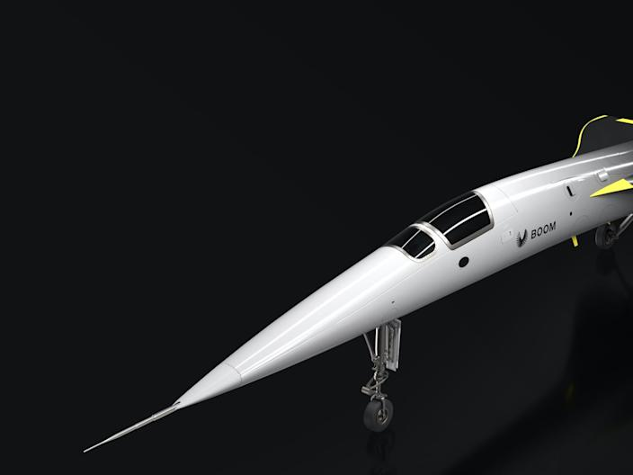 A Boom Supersonic XB-1 aircraft rendering.