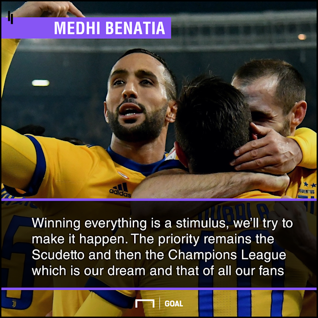 With the Coppa Italia final and Champions League quarterfinal spots secured, the 28-year-old is eyeing a treble this season