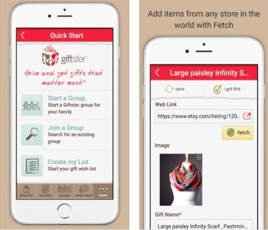 """<p>With <a rel=""""nofollow"""" href=""""http://www.giftster.com/iphone/"""">Giftster,</a> you can do more than just exchange presents - you can make sure both you and your participants end up with exactly the gifts you want. With this free wish list registry, you, your friends, and your family can all make your own gift wish lists and then add a Secret Santa draw to your group, taking all the stress out of gift buying. </p> <p><em>Available for iOS and Android</em></p>"""