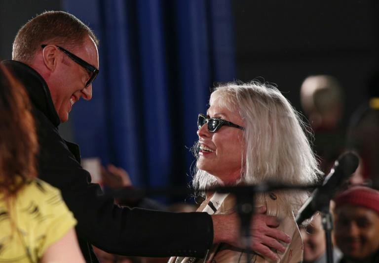 Coach's Creative Director, Stuart Vevers and Debbie Harry attend the runway for Coach 1941 fashion show during New York Fashion Week at Spring Studios on February 11, 2020