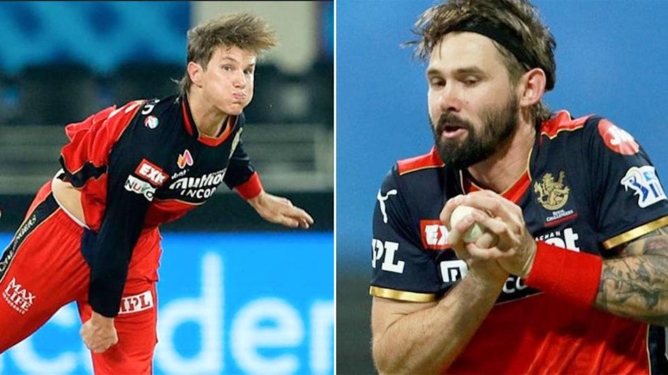 Pictured here, Aussie stars Adam Zampa and Kane Richardson are reportedly stranded in Mumbai.