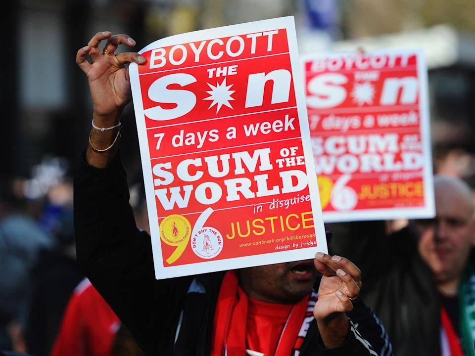 The Sun is banned from being sold in shops across the city of Liverpool (Getty)