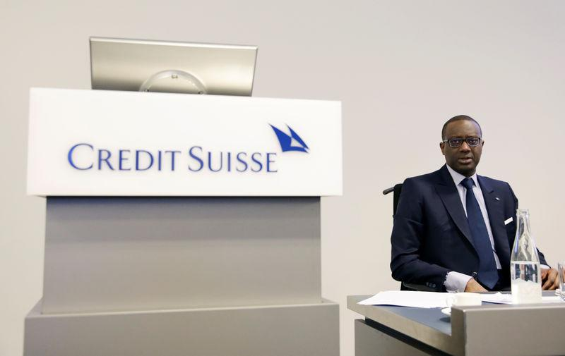 FILE PHOTO - CEO Thiam of Swiss bank Credit Suisse awaits a news conference to present full-year results in Zurich
